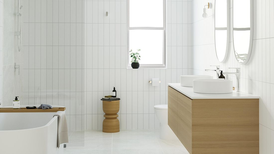 modern bathroom with white tiles, freestanding bath, timber vanity and double mirrors