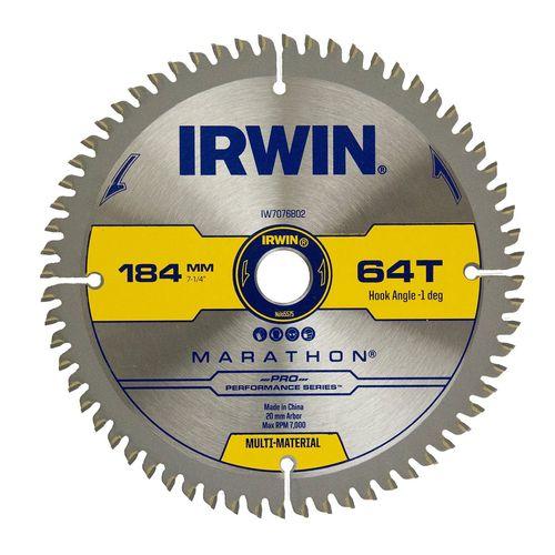 Irwin 184mm 64T Marathon Pro Performance Multi Material Circular Saw Blade