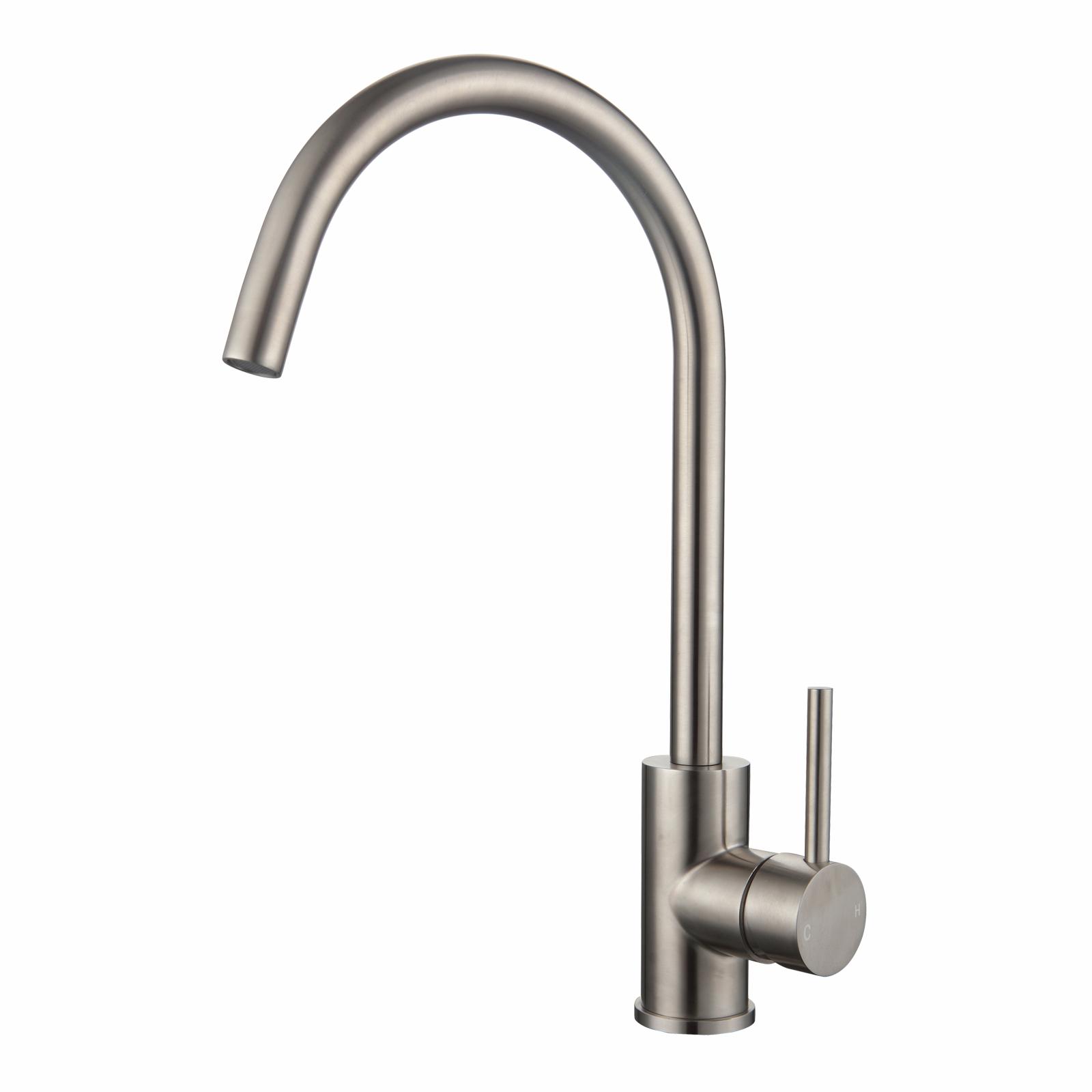 Mondella WELS 5 Star 6L/min Stainless Steel Resonance Curved Sink Mixer