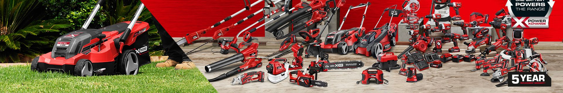 Over 70 tools available. One battery powers the range. 5 year replacement warranty.