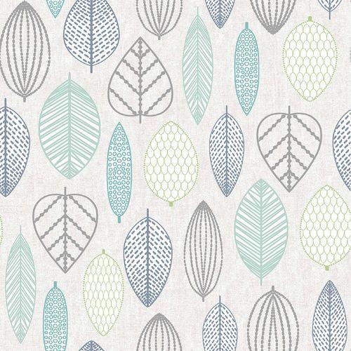 Superfresco Easy 1/2m Blue Scandi Leaf Wallpaper Sample