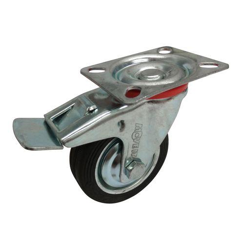 Move It 75mm 50kg Black Rubber Swivel Plate Castor With Brake
