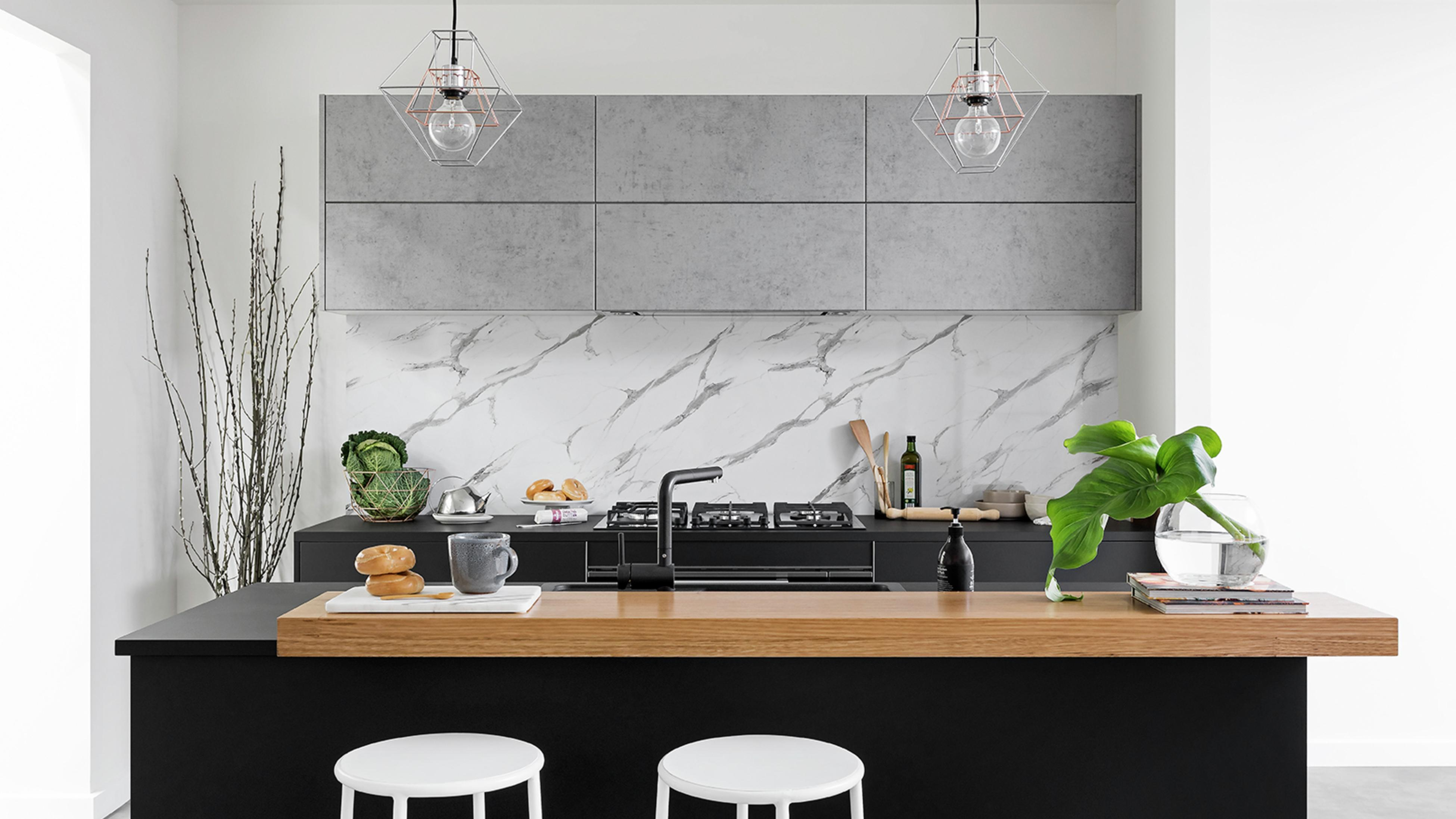Timber kitchen benchtop with stools