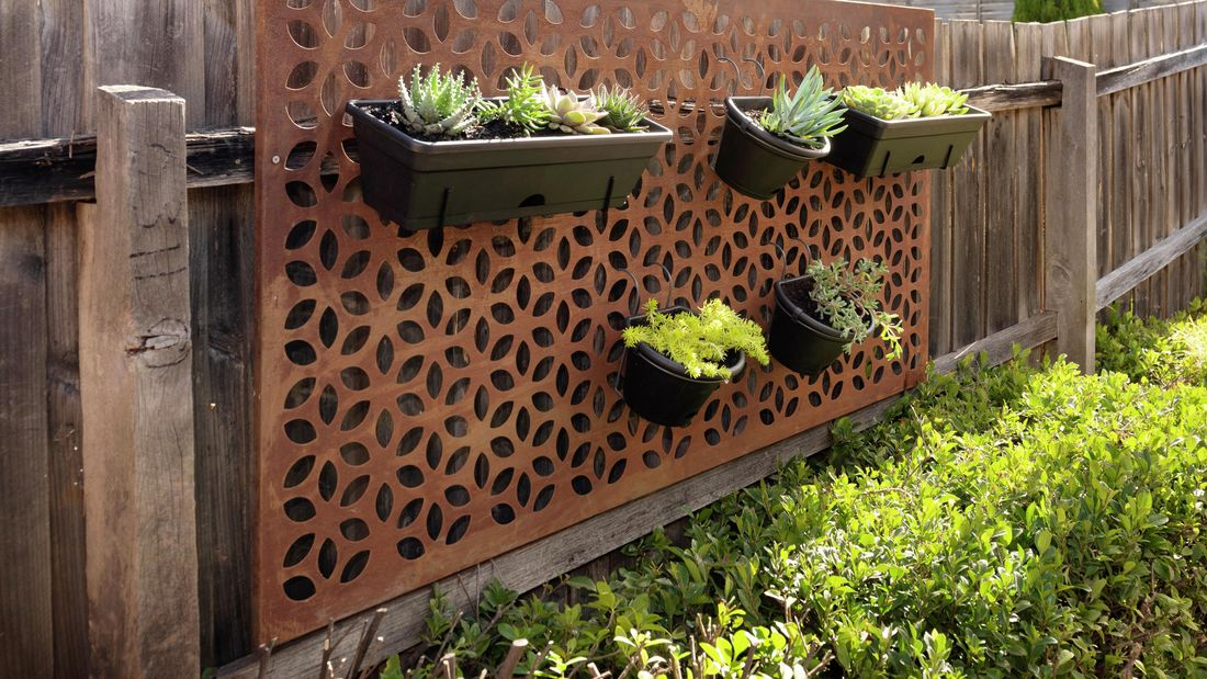 Potted plants hanging on a steel screen on a paling fence