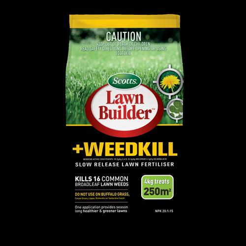 Scotts Lawn Builder 4kg + Weedkill Slow Release Lawn Fertilser