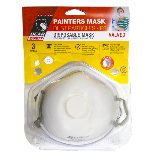 Bear Safety Disposable Painters Dust Mask - 3 Pack