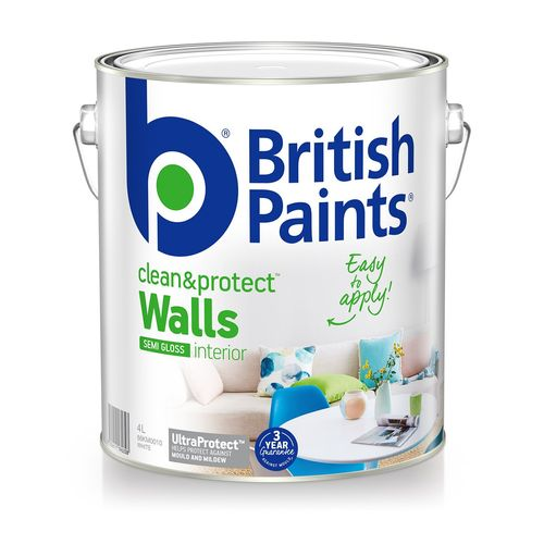 British Paints 4L Clean & Protect Semi Gloss White Interior Paint