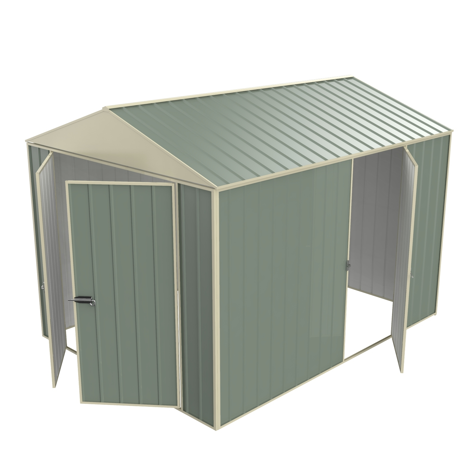 Build-a-Shed 2.3 x 3.0 x 2.3m Gable Single Hinged Side Door Shed - Green