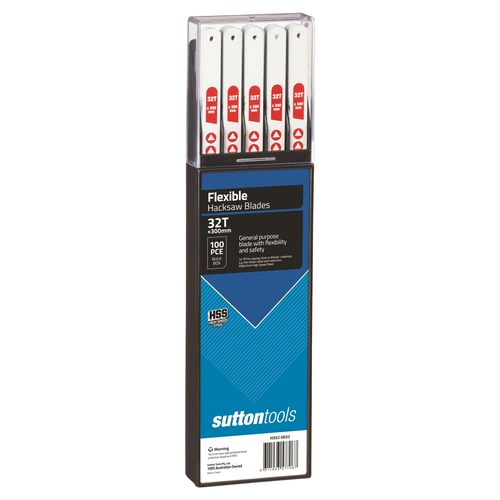 Sutton Tools 300mm 32 TPI Flexible Hacksaw Blade - 100 Pack