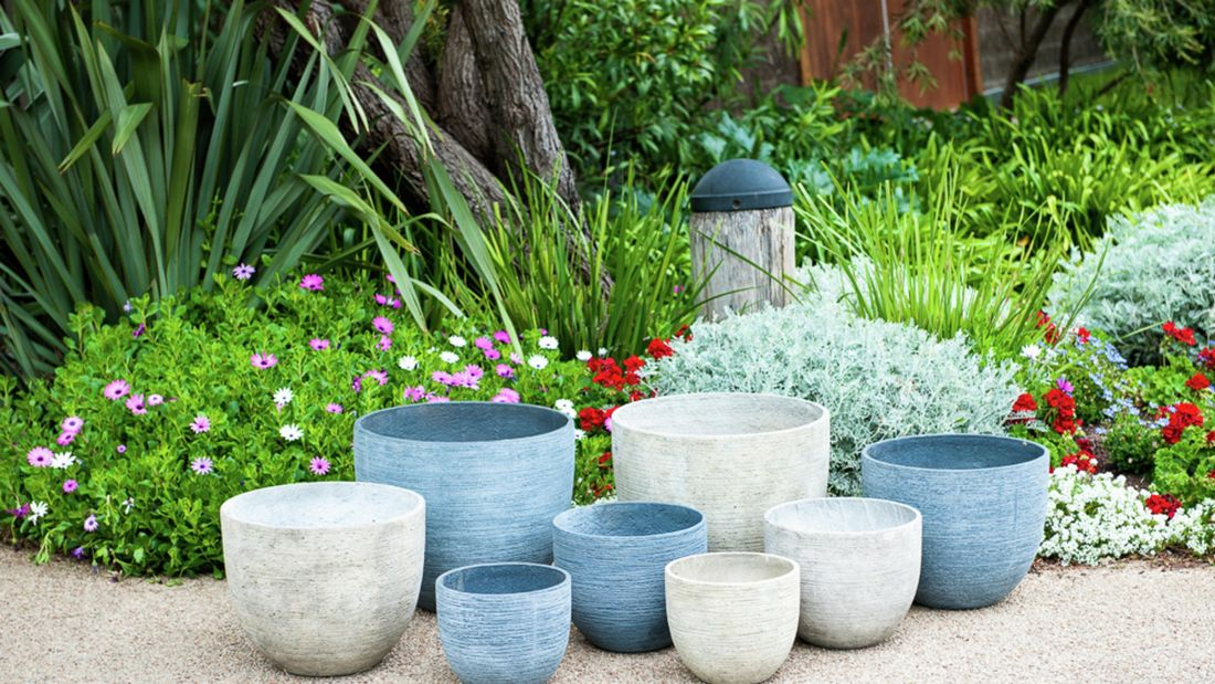 A selection of neutral and blue pots.