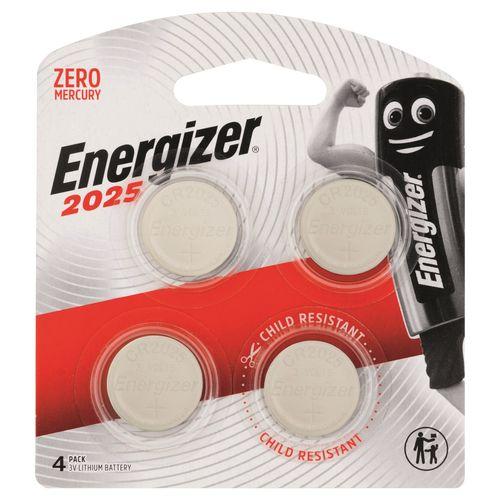 Energizer 3V Lithium Coin CR2025 Batteries - 4 Pack