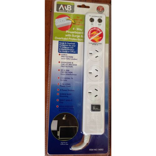 Mort Bay 4-Way Powerboard with Surge & Overload Protection 1.8m