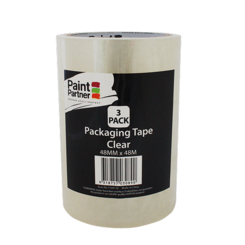 Paint Partner 48mm x 48m Clear Packing Tape - 3 Pack