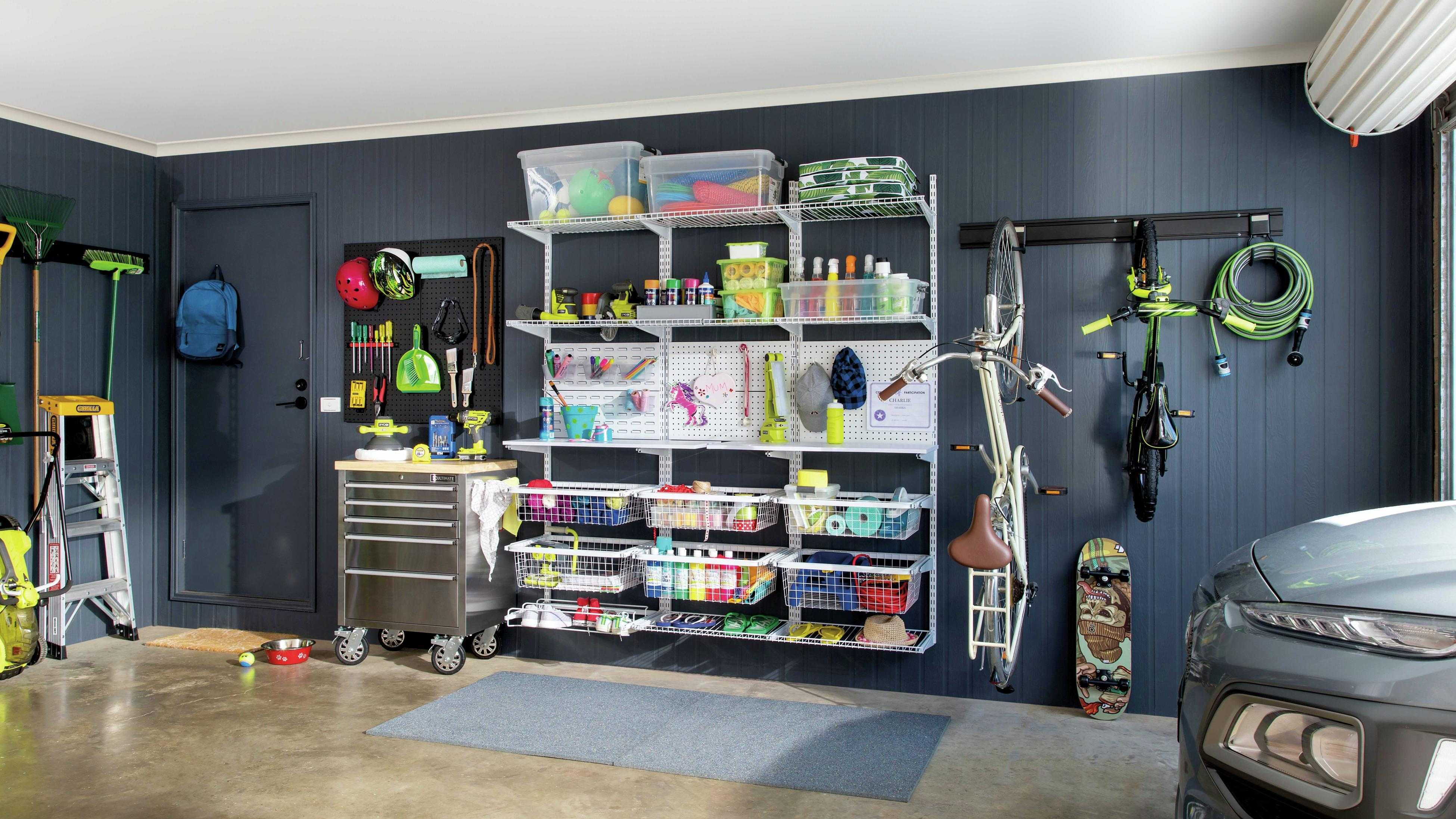 Garage with wire racking organisation and tools