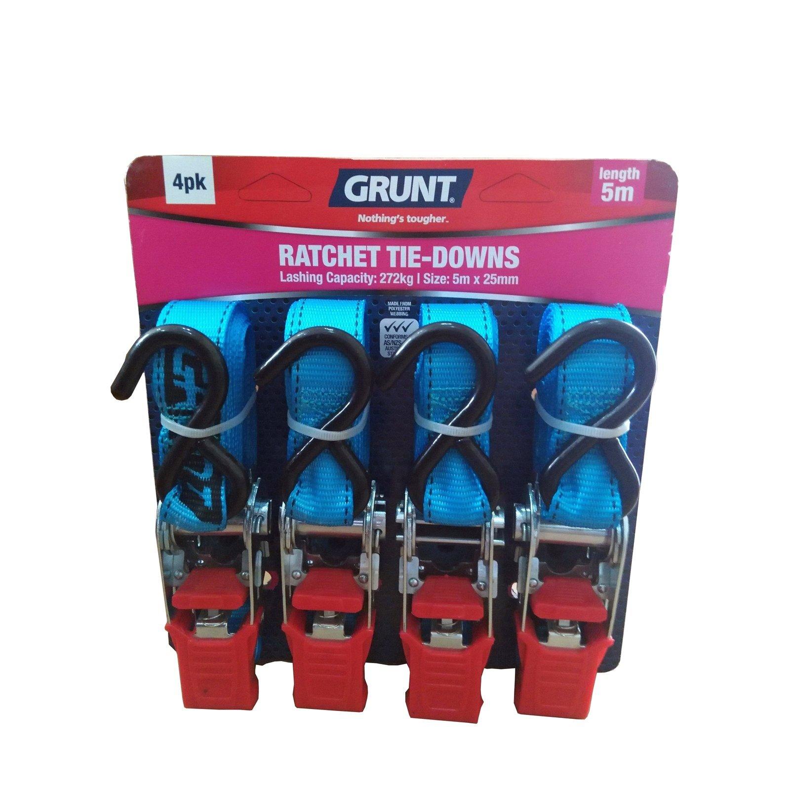 Grunt 25mm x 5m Ratchet Tie Down Straps - 4 Pack