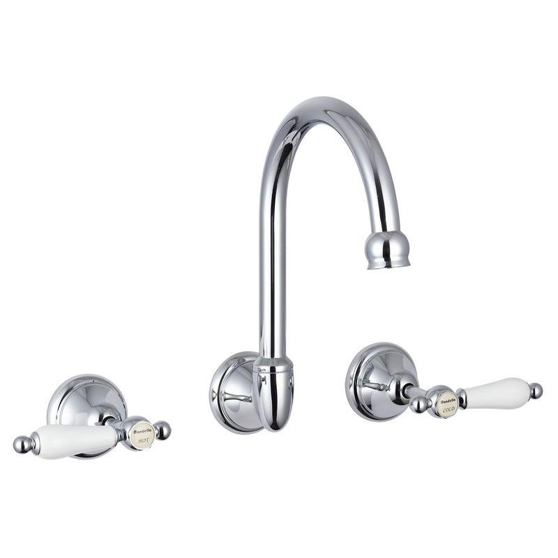 Maestro Chrome Lever Handle Wall Sink Set