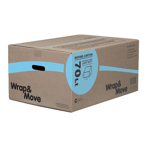 Wrap & Move 600 x 420 x 280mm 70L Light Duty Rectangle Carry Carton