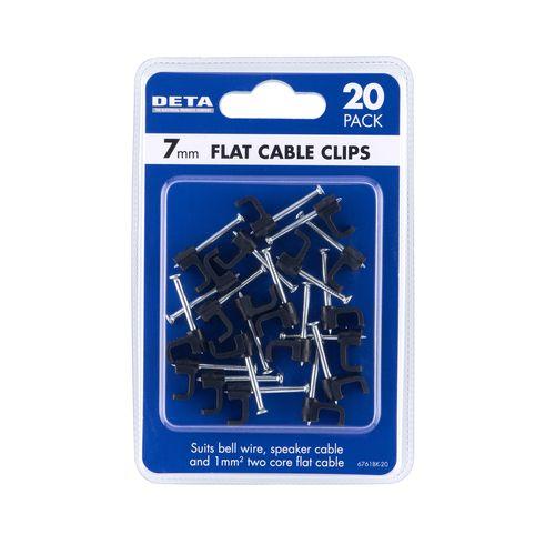 DETA 7mm Black Flat Cable Clips - 20 Pack