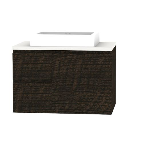 Forme 750mm Mont Albert Wall Mount Vanity With Blanc Stone Top And Comet Basin - LH Drawers - Dark Chocolate