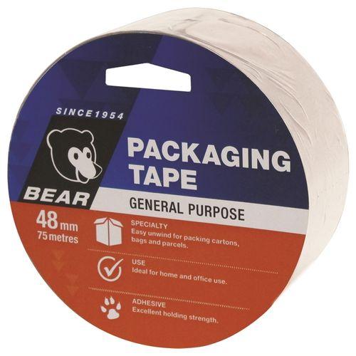 Bear 48mm x 75m Clear Polypropylene Packaging Tape