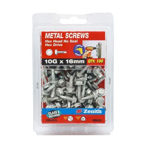 Zenith 10G x 16mm Galvanised Hex Head Metal Screws - 100 Pack