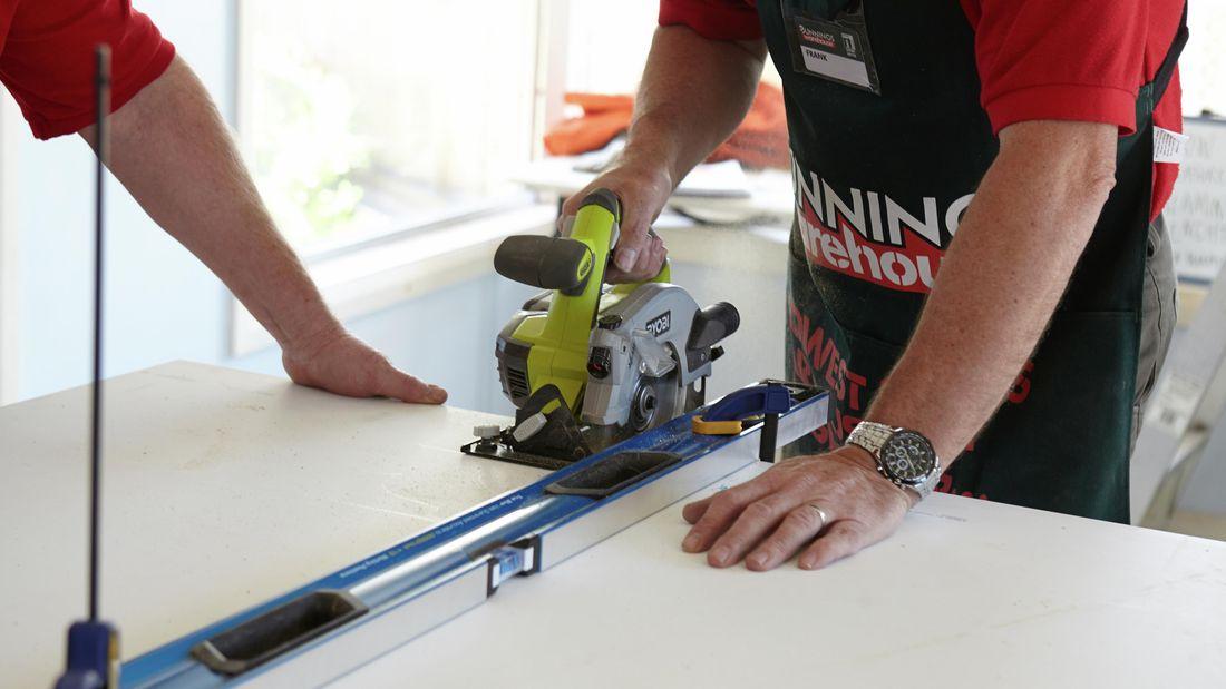 DIY Step Image - How to cut laminate benchtop . Blob storage upload.