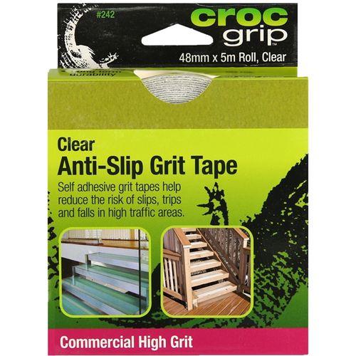 Croc Grip Commercial Anti Slip Grit Tape 48mm x 5m Clear