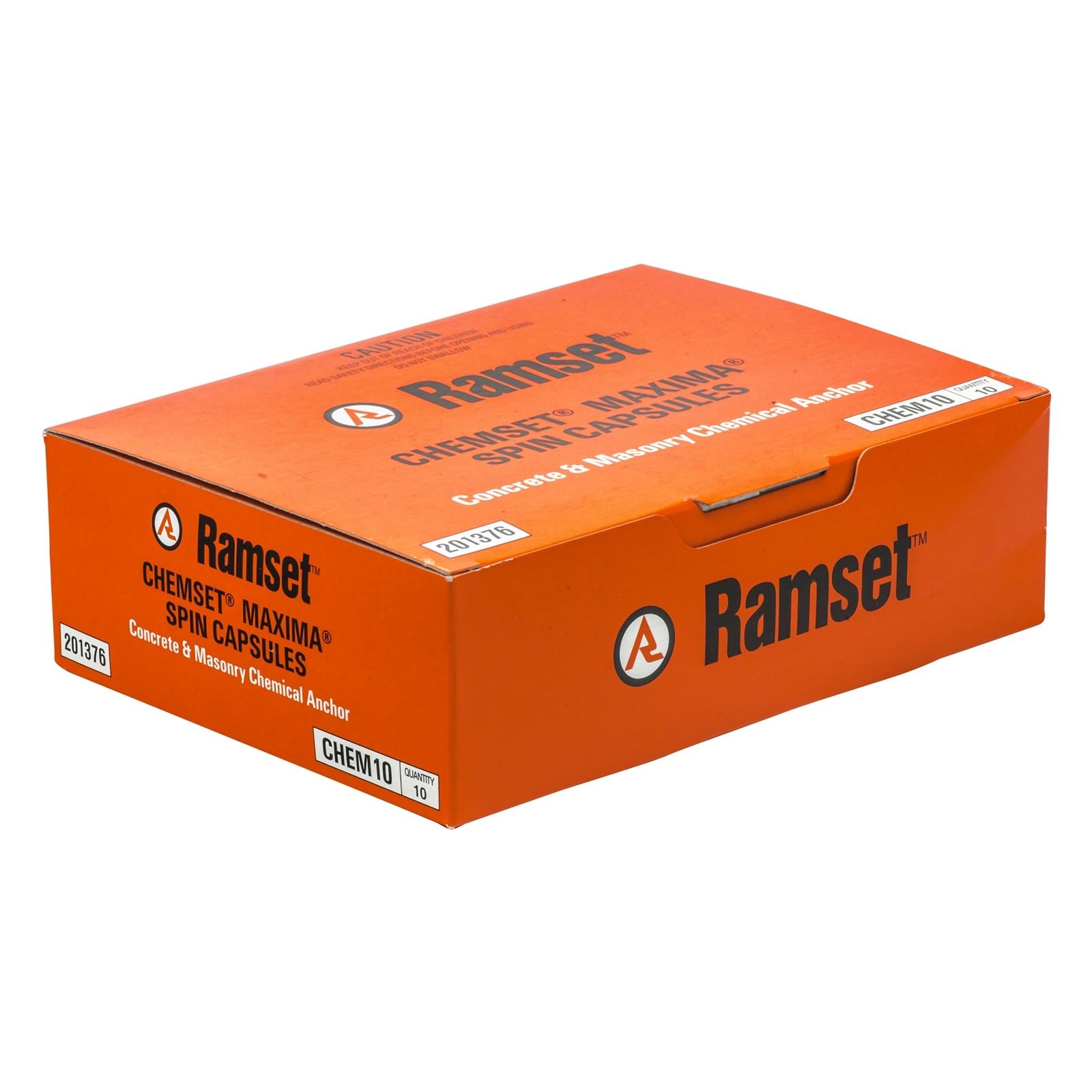 Ramset M10 Maxima Masonry Chemical Acrylate Epoxy Capsule - 10 Pack