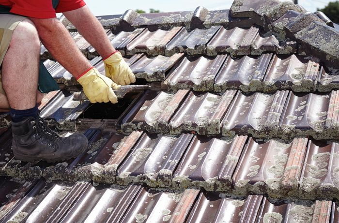 A person on a tiled roof replacing a roof tile