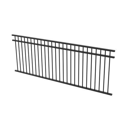 Protector Aluminium 2450 x 900mm Double Top Rail All Up Fence Panel - Satin Black