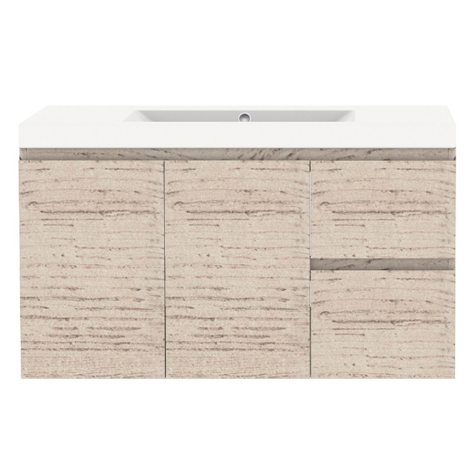 Forme 900mm Mont Albert Wall Hung Vanity With Polymarble Top - RH Drawers - Light Ash