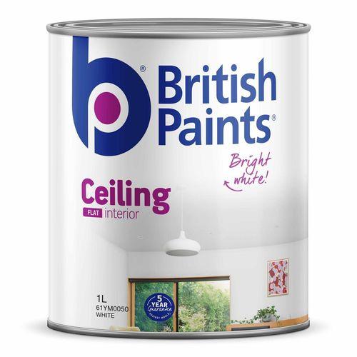British Paints 1L Flat White Ceiling Paint