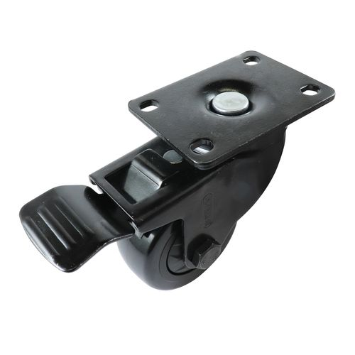 Easyroll 75mm Black PVC Swivel Castor With Brake