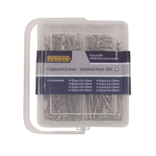 Syneco 280 Piece Stainless Steel Assorted Chipboard Screws