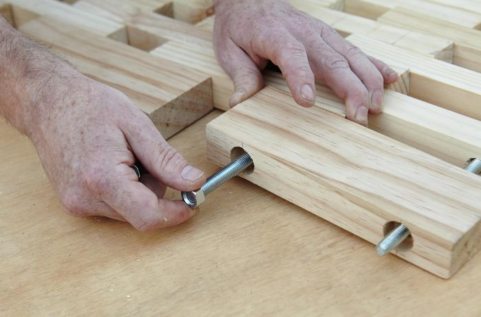 DIY Step Image - How to build a D.I.Y. wooden floor mat . Blob storage upload.