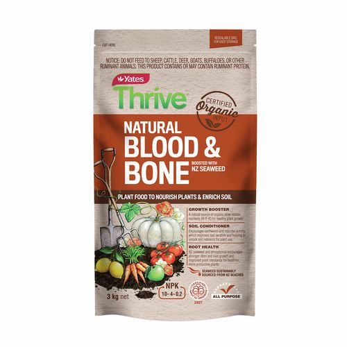 Yates Thrive 3kg Certified Organic Natural Blood & Bone Boosted With NZ Seaweed
