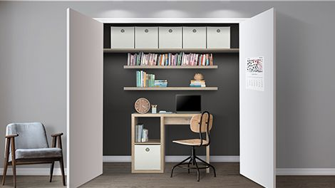Study space within a cupboard with desk, chair and shelving