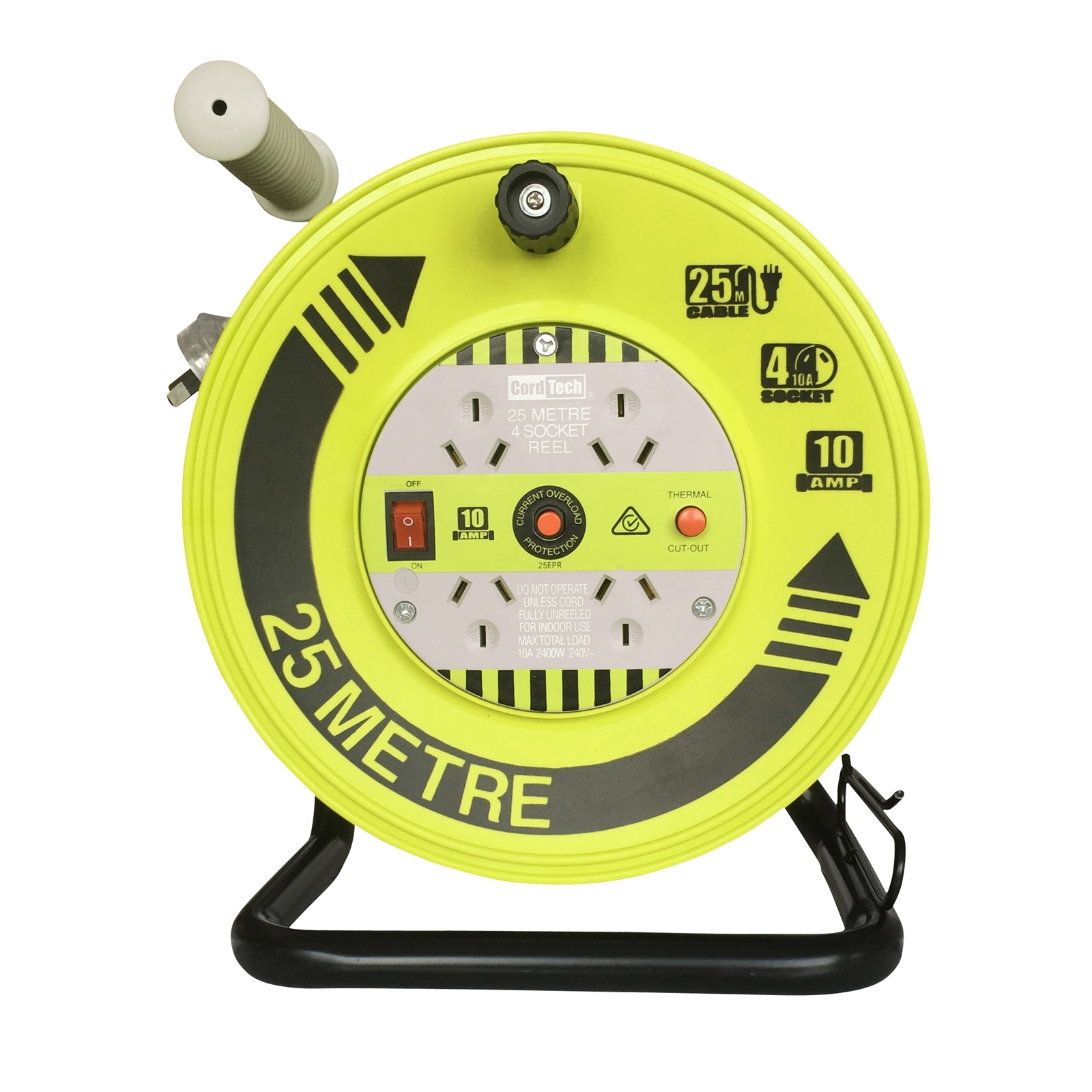 CordTech 25m Heavy Duty Cable Reel with 4 outlets