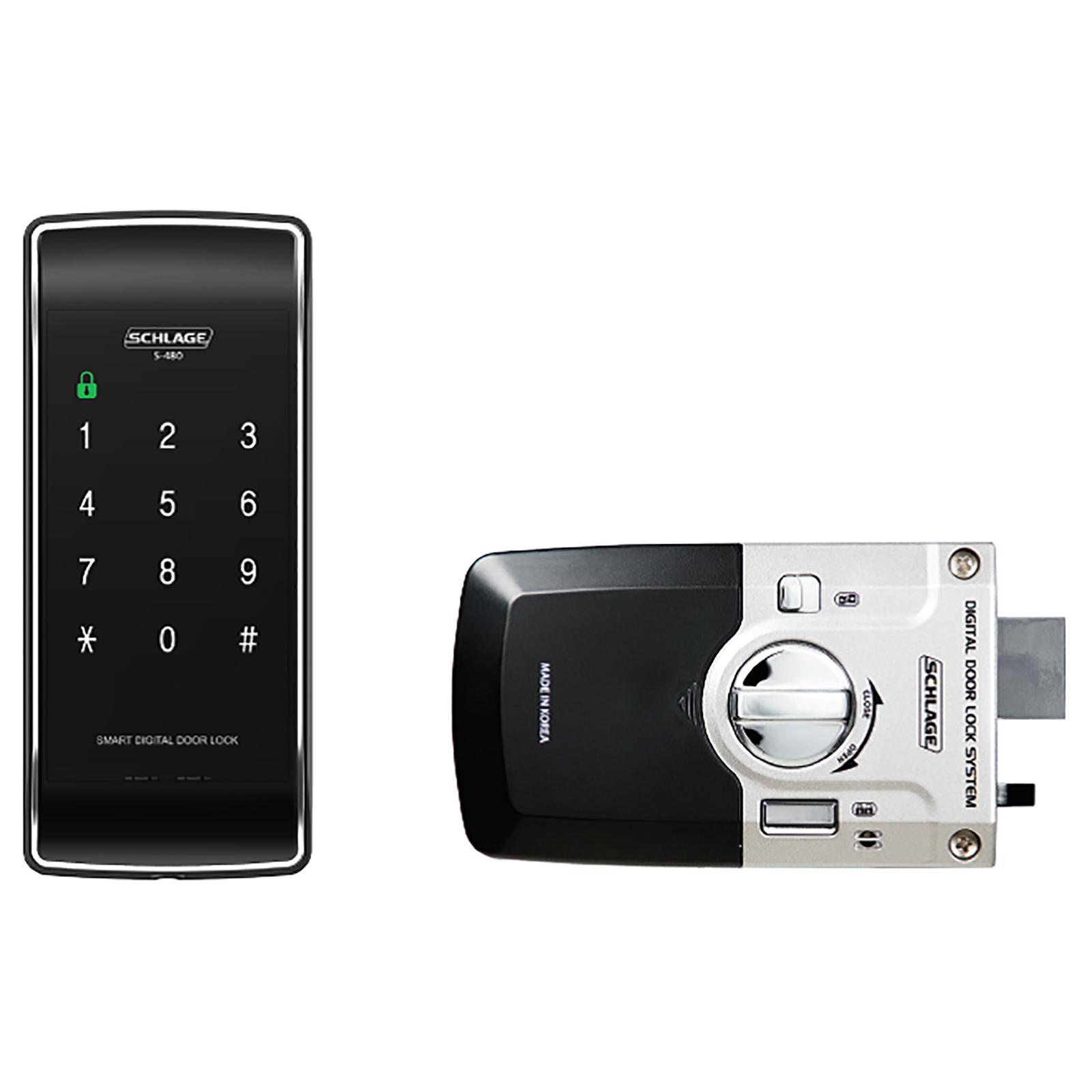 Schlage Black S-480 Digital Touchpad Rim Lock