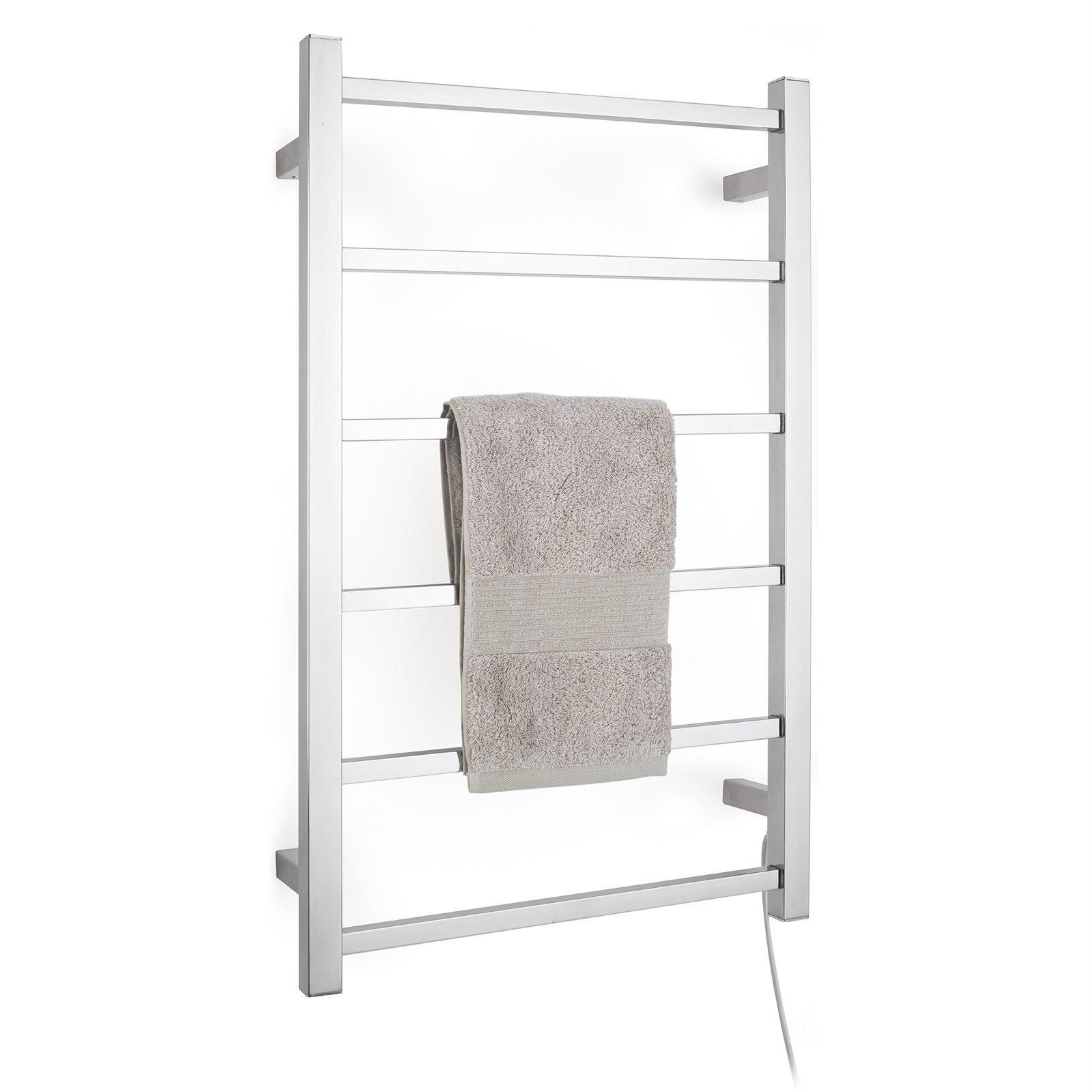 Arlec 6 Bar 65W Stainless Steel  Square Heated Towel Rail