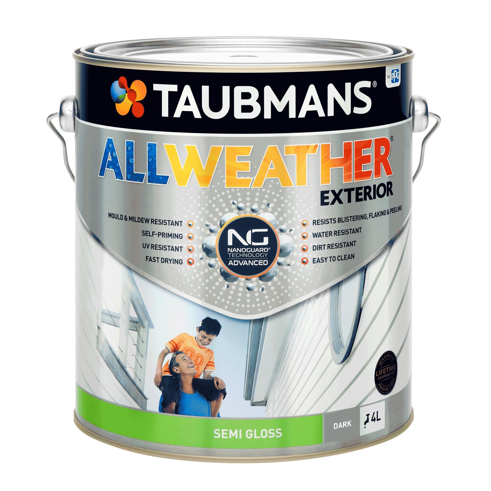 Taubmans 4L Dark Semi Gloss All Weather Exterior Paint