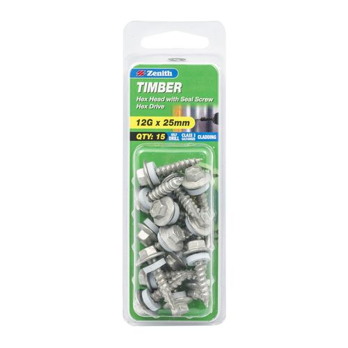 Zenith 12G x 25mm Galvanised Hex Head With Seal Timber Screws - 15 Pack