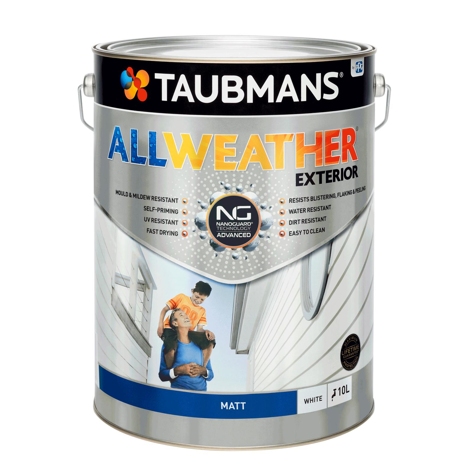 Taubmans All Weather Matt White Exterior Paint - 10L