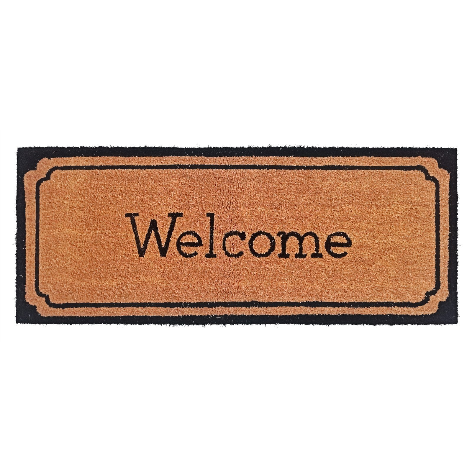 114 x 45cm Welcome With Black Border PVC Backed Outdoor Coir Mat