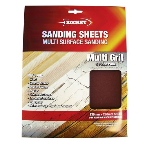 Rocket 8 Piece Assorted Mutli Surface Sanding Sheets