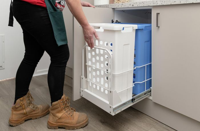 Cabinet with pull out drawers.