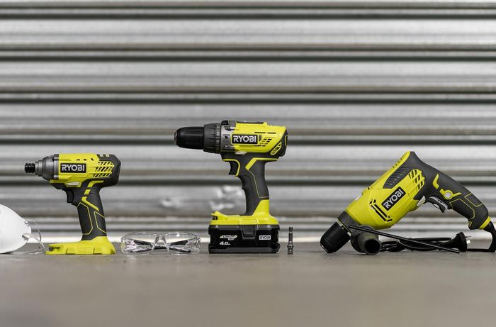 Power drills and some safety gear