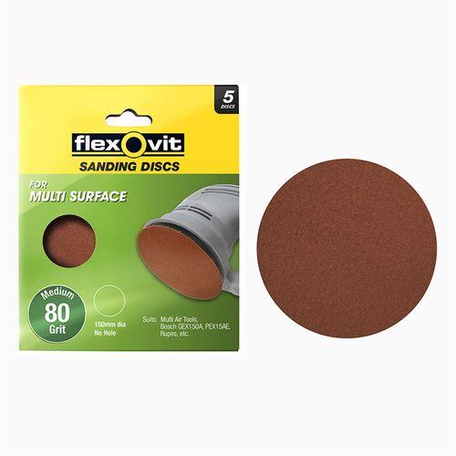 Flexovit 150mm 80 Grit All Surface Orbital Sanding Disc - 5 Pack