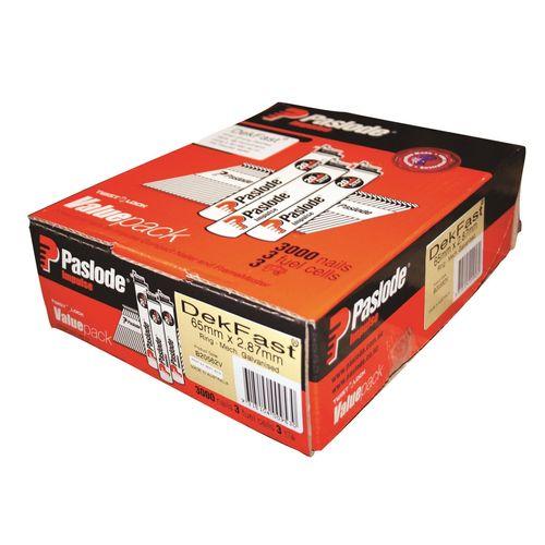 Paslode 65 x 2.87mm 34° Amor Galvanised Dekfast Ring Impulse Nail - 3000 Value Pack