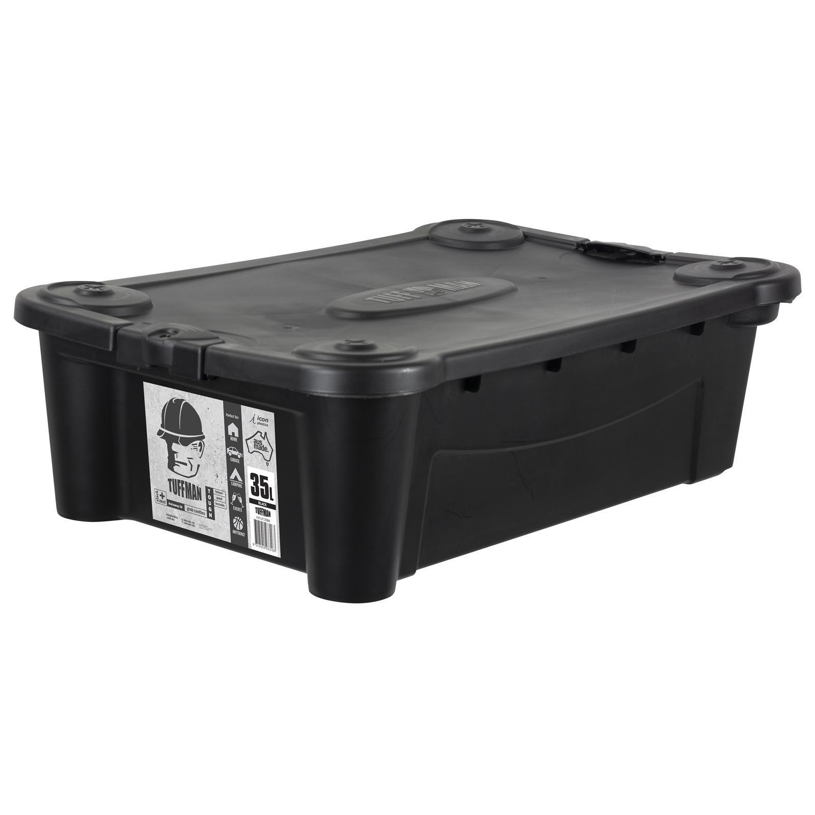 Icon Plastics 35L Black Tuffman Heavy Duty Storage Container